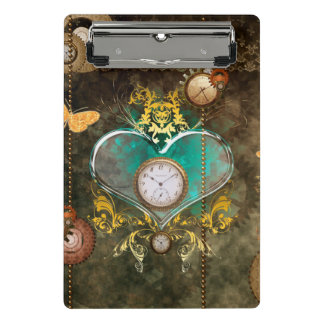 Steampunk, wonderful heart with clocks mini clipboard