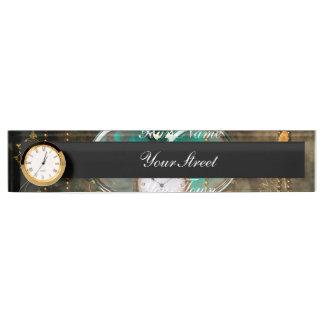Steampunk, wonderful heart with clocks name plate