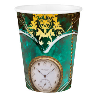 Steampunk, wonderful heart with clocks paper cup