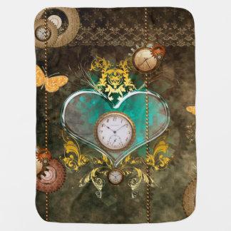 Steampunk, wonderful heart with clocks swaddle blanket