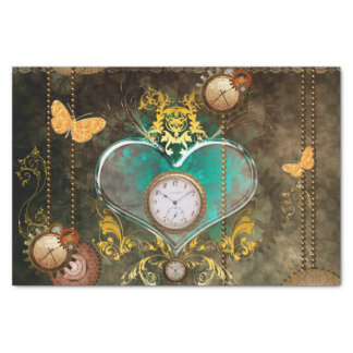 Steampunk, wonderful heart with clocks tissue paper