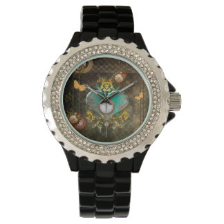 Steampunk, wonderful heart with clocks watch