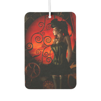 Steampunk, wonderful steampunk lady in the night car air freshener