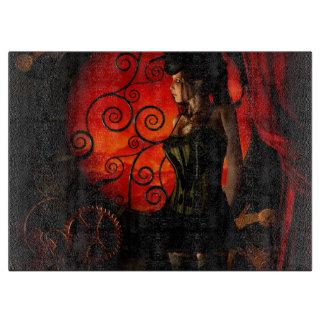 Steampunk, wonderful steampunk lady in the night cutting board