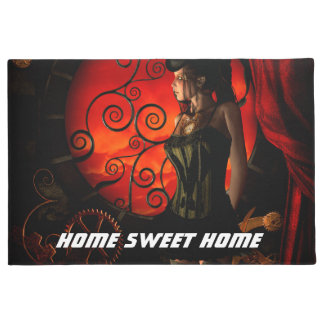 Steampunk, wonderful steampunk lady in the night doormat