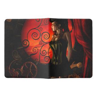 Steampunk, wonderful steampunk lady in the night extra large moleskine notebook