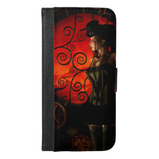 Steampunk, wonderful steampunk lady in the night iPhone 6/6s plus wallet case