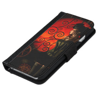 Steampunk, wonderful steampunk lady in the night iPhone 6 wallet case