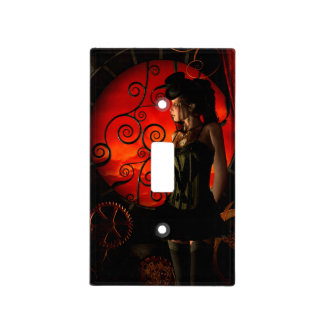 Steampunk, wonderful steampunk lady in the night light switch cover