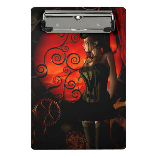 Steampunk, wonderful steampunk lady in the night mini clipboard