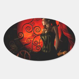 Steampunk, wonderful steampunk lady in the night oval sticker