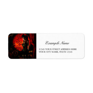 Steampunk, wonderful steampunk lady in the night return address label
