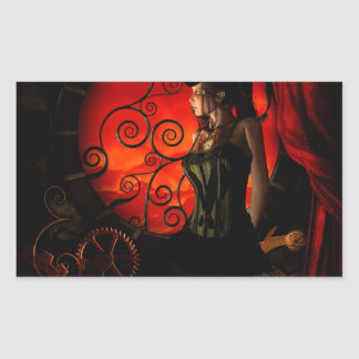 Steampunk, wonderful steampunk lady in the night sticker