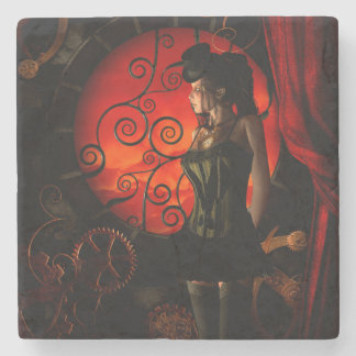 Steampunk, wonderful steampunk lady in the night stone coaster