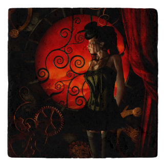 Steampunk, wonderful steampunk lady in the night trivet