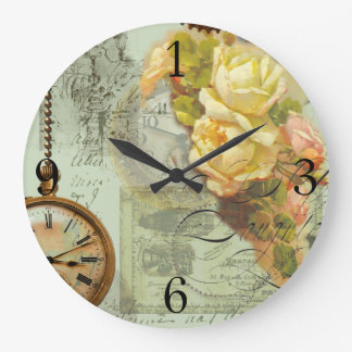 Steampunk & Yellow Roses in Green Large Clock