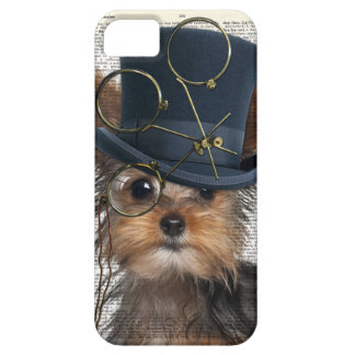 Steampunk Yorkie on a Vintage Dictionary Page iPhone 5 Cases