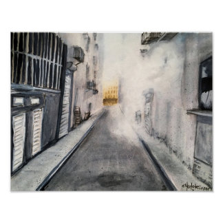 Steamy Alley Cityscape - Poster