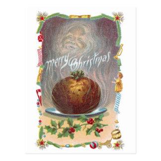 Steamy Plum Pudding Vintage Christmas Postcard