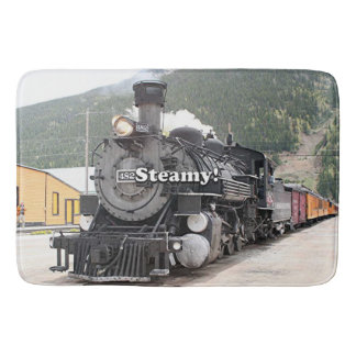 Steamy!: steam train engine, Colorado, USA 8 Bath Mat