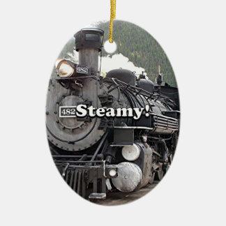 Steamy!: steam train engine, Colorado, USA 8 Ceramic Ornament
