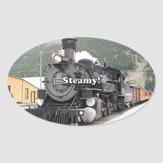Steamy!: steam train engine, Colorado, USA 8 Oval Sticker