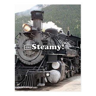 Steamy!: steam train engine, Colorado, USA 8 Postcard