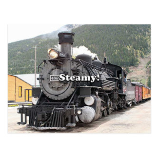 Steamy!: steam train engine, Colorado, USA 8 Postcard