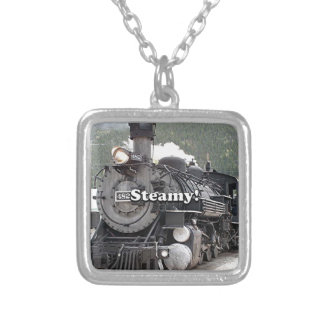 Steamy!: steam train engine, Colorado, USA 8 Silver Plated Necklace