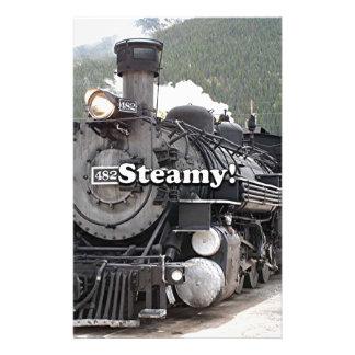 Steamy!: steam train engine, Colorado, USA 8 Stationery