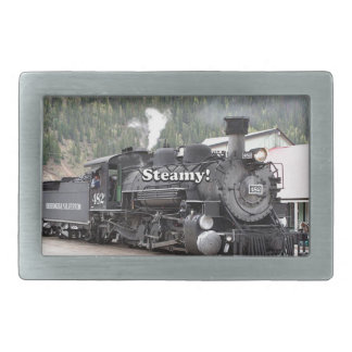 Steamy!: steam train engine, Colorado, USA Belt Buckles