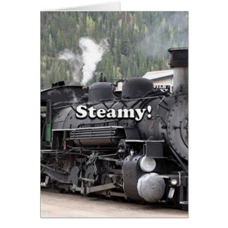 Steamy!: steam train engine, Colorado, USA Card