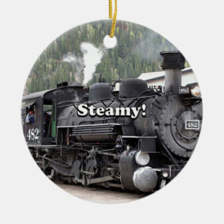 Steamy!: steam train engine, Colorado, USA Ceramic Ornament