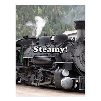 Steamy!: steam train engine, Colorado, USA Postcard