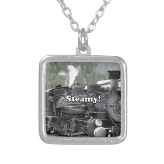 Steamy!: steam train engine, Colorado, USA Silver Plated Necklace