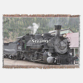 Steamy!: steam train engine, Colorado, USA Throw Blanket