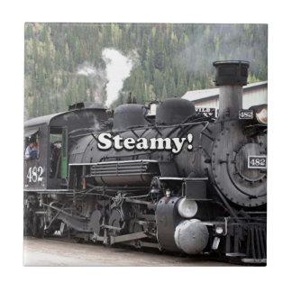 Steamy!: steam train engine, Colorado, USA Tile