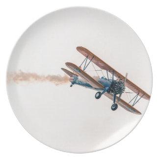 Stearman Pt-13d Double Decker Aircraft Fly Plate