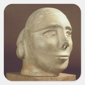 Steatite portrait head, Mohenjodaro, 2300-1750 BC Square Sticker
