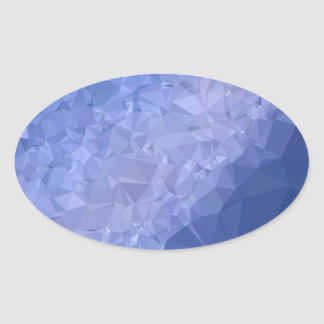 Steel Blue Abstract Low Polygon Background Oval Sticker