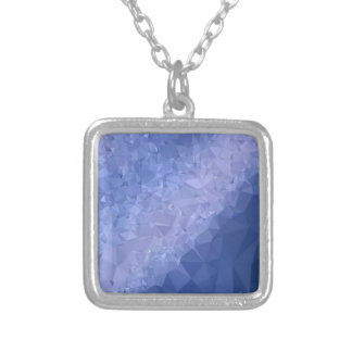 Steel Blue Abstract Low Polygon Background Silver Plated Necklace