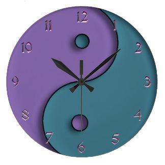 Steel Blue and Lavender Yin-Yang Symbol Clock