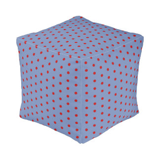 Steel blue and red polka dot pattern, retro style pouf