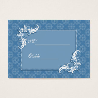 Steel Blue Damask and Floral Frame Place Setting Business Card