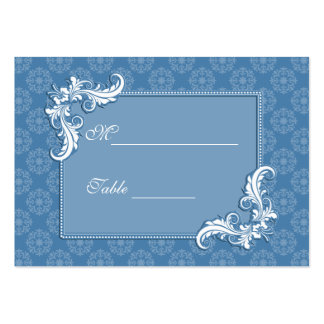 Steel Blue Damask and Floral Frame Place Setting Large Business Card