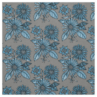 Steel-Blue Floral Bouquet Fabric