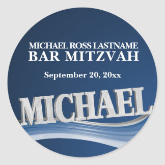 Steel Blue Name Michael Classic Round Sticker
