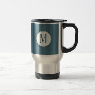 Steel Blue Pinstripe Single Monogram Mug