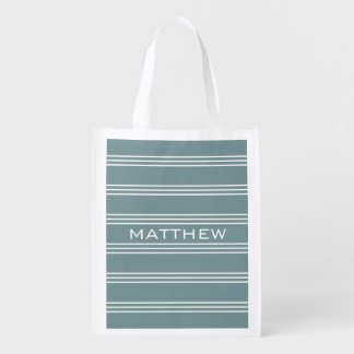 Steel Blue Stripes custom monogram reusable bag Grocery Bags