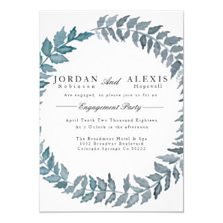 "Steel Blue Vine | Watercolor Engagement Party 5"" X 7"" Invitation Card"